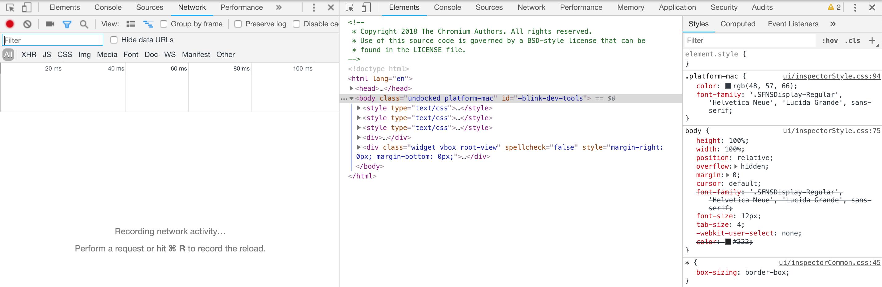 Static DevTools UI